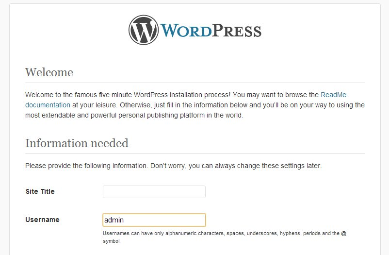 Avoid using 'admin as your WordPress username.