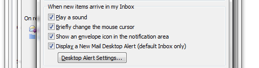 Outlook Notification Settings